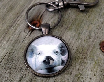 Pig keychain, Pig necklace, Black and white pig jewelry, Pig pendant necklace, Gifts for girls, Gifts for friends, Stocking stuffer, Pigs