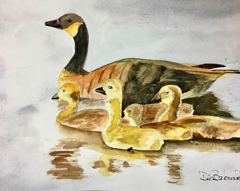 Original Watercolor Painting Watercolor Duck and Ducklings Mother Goose Canadian Geese Baby Water Birds Original Office Decor Nursery Decor