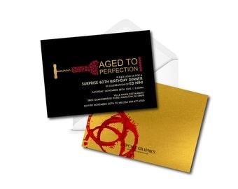 Milestone Birthday Invitation - Aged to Perfection - Wine Theme
