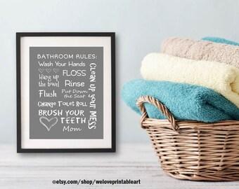 Gray Kids Bathroom Art Decor Bathroom Artwork Printable Art Print Instant Download Bathroom Wall Quote Sign