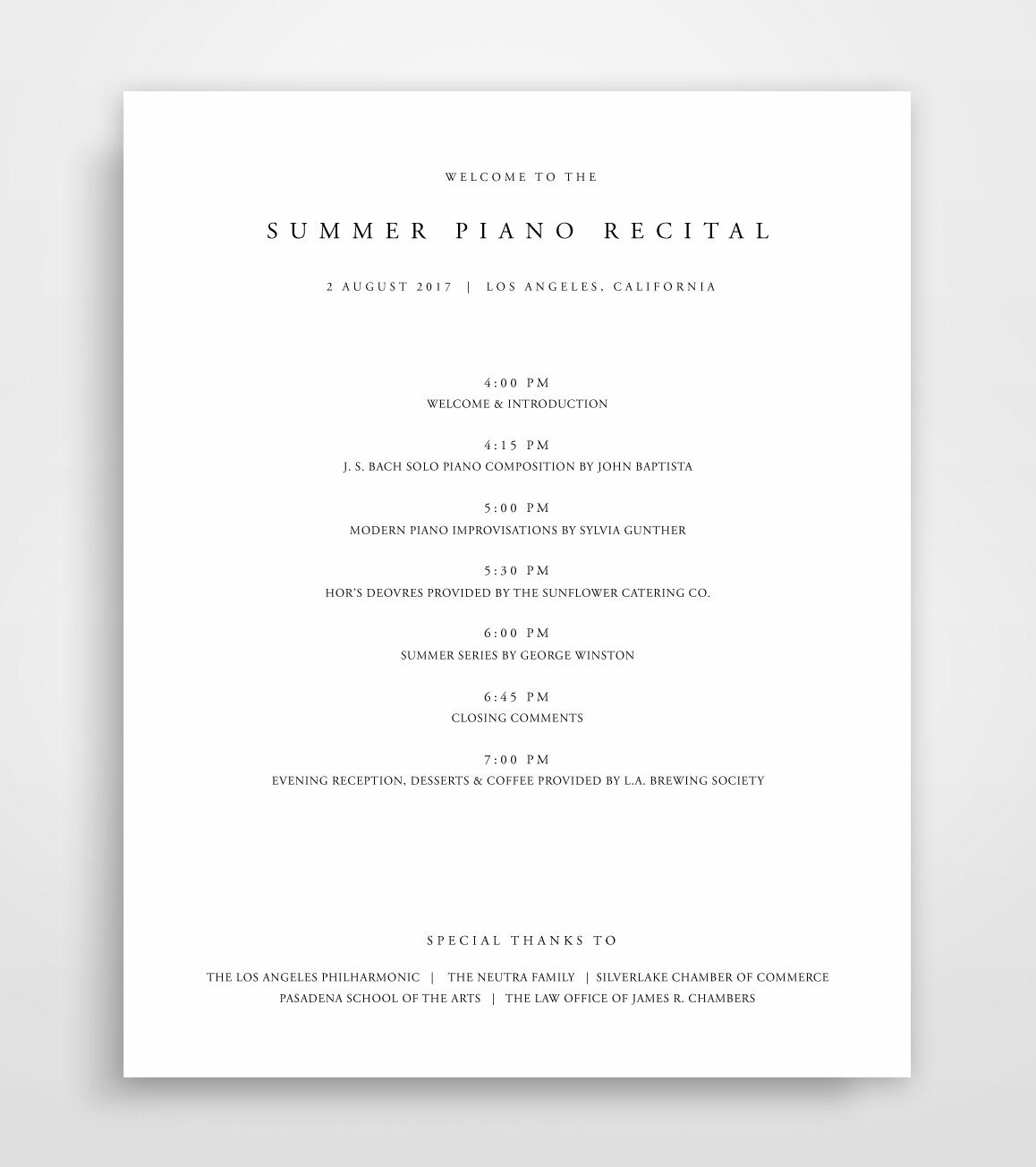 event program examples layout banquet agenda template business