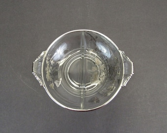 Vintage Divided Glass Dish with Silver Poppy Accents (E10590)