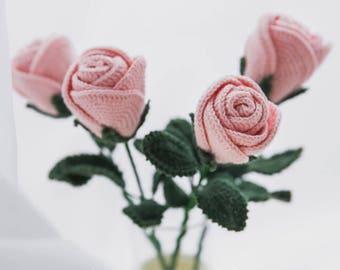 DIY crochet rose in pink x 5 pieces, handmade (actual craftwork not pattern)