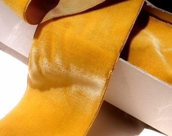 Vintage French Velvet Ribbon Trim 72mm Wide Gold By The Yard