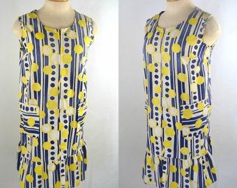 1960s MOD Yellow, Blue and White Drop Waist Sleeveless Dress, Needs TLC