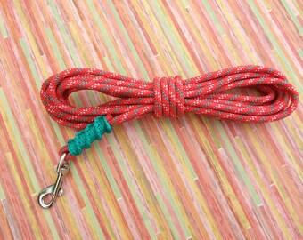 Dog collar - 5 m - 6 mm - red green lanyard