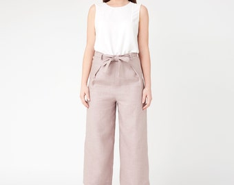 Linen pants - linen trousers - cropped pants - gift for her - high waisted pants - natural linen pants - wide leg pants