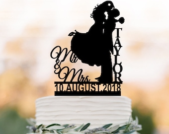 Personalized Wedding Cake topper mr and mrs name and date, Cake Toppers with bride and groom silhouette, funny
