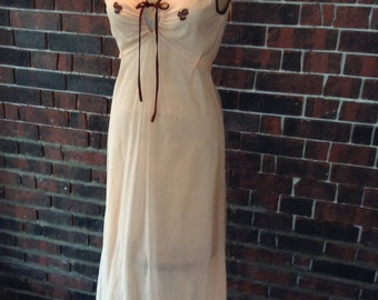 Soft tangerine vintage full length night gown with brown embroidered flowers, and satin trim,