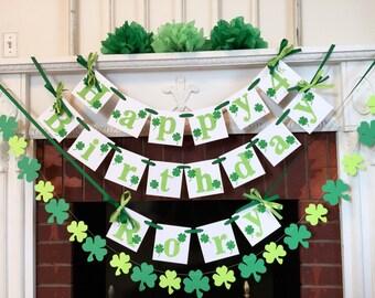 Happy Birthday banner garland set, St Patrick's Birthday Garland , St Partick's Birthday decorations, Green birthday decor, Photo prop