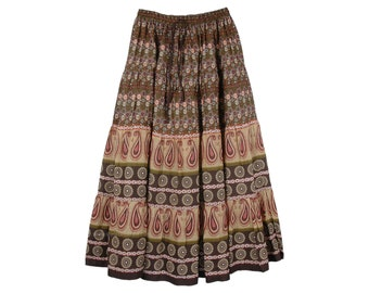 Tribal Printed Ankle Length Full Maxi Cotton Summer Skirt