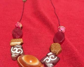 Carnelian Gemstone Necklace/Goldstone/Pink Dyed Serpentine Jade