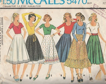 McCall's 5470 Misses' T-Shirt and Skirt