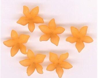 Orange Lucite Daffodil Beads, 30mm Lucite Flower Bead, 6 Piece Pk, Orange Charm Flower, Big Orange Lucite Flower, Orange Hibiscus, Orange