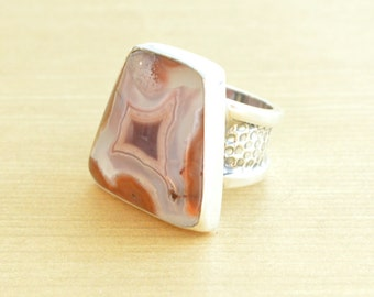 Sierra Madre Agate Trapezoid Ring // Agate Jewelry // Sterling Silver // Village Silversmith