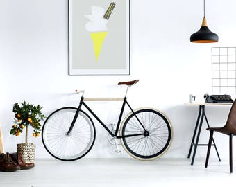 Ice Cream Art, Kitchen Print, Vanilla Ice Cream Cone, New Kitchen, Mid Century Modern, Gift For Colleague, Dessert Wall Art, Yellow Art