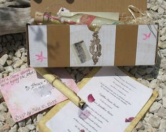 Custom Message in a Bottle Beach Wedding Invitations- Travels Around the World Style- SAMPLE
