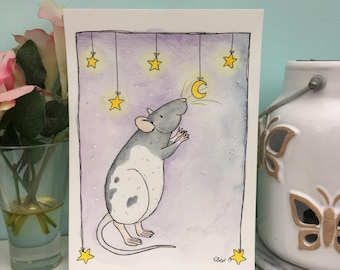 Counting Stars, Cute Rat Watercolour Painting, A5 6x4 Art Prints, Moons and Stars, space, Hooded Rat Illustration