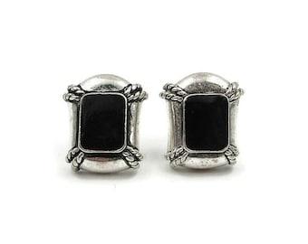 Avon Silver Nautical Clip Earrings - Black Enamel, Silver Tone Metal, Vintage Earrings, Silver Earrings, Avon Earrings