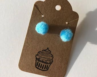 Light Blue Pom Pom Earrings