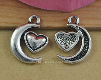 25pcs Moon Charms, 13x18mm Antique Silver Tone Moon and Heart Charms Pendant, Jewelry Necklace Pendant Charms