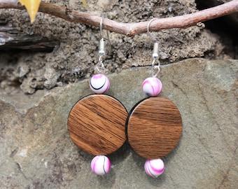 Earrings imitation wood, Pearl Pink