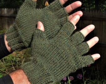 Half Finger Gloves Men's Moss Green Pure Baby Alpaca Half Finger Gloves Hand Knit Green Hand Warmers Men's Baby Alpaca Half Finger Gloves