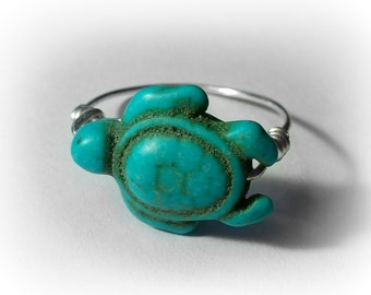 Custom Ring, Turtle Ring, Wire Wrapped Ring, Turquoise Ring, Stone Turtle Ring, Silver Ring, Copper Ring, Bronze Ring, Sea Turtle, ANIMAL