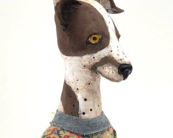 Folk Art dog doll cloth and paperclay painted and carved sewn collectible doll art