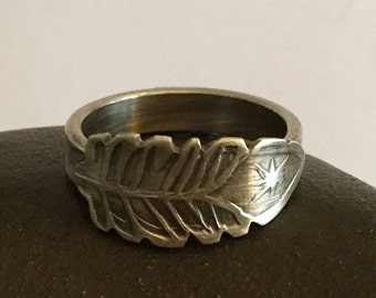 Sterling Silver Ring Band Hand Stamped Feather  - Made to Order