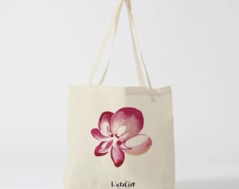 tote bag flower, bag canvas cotton bag, diaper bag, handbag, tote bag, bag of race, current bag, shopping bag, gift for friend, gift