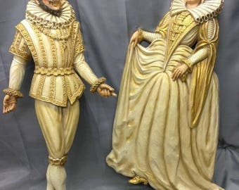 Pair of Two Old Vintage Plastic Large Figures Dancing Couple Wall Plaques 1970s