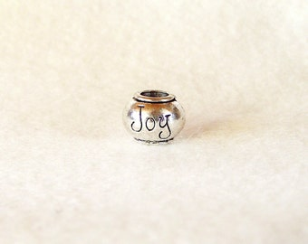 Antique Silver-tone Joy Bead for European Charm Bracelets 8mm x 10mm