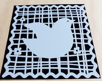 square 15 cm 6 x 6 inch reusable bird stencil