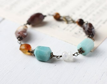Blue and Brown Chunky Gemstone Bracelet - Agate, Moonstone, Chrysoprase, Chalcedony, Tiger's Eyes, Rustic Bohemian Jewelry
