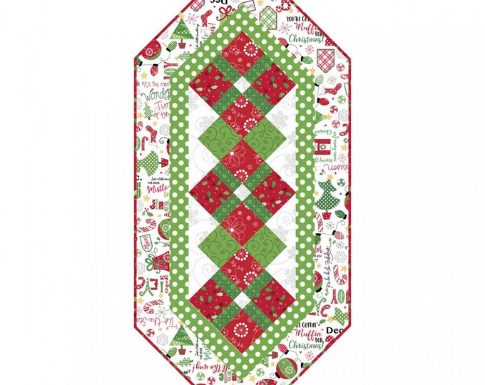 Holiday Fabric Kit, Jingle All The Way Table Runner Cotton Quilt Kit 17 x 38 inches Maywood Studios