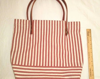 Nautical Rustic Striped Tote with Leather Straps and Brass Details