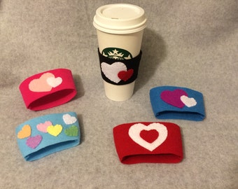 Valentine's Day Felt Cup Sleeves, Hearts, Coffee