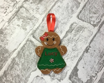 Personalised gingerbread girl christmas tree decoration, stocking filler, festive decoration, secret santa gift, kids chistmas gift,