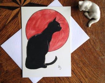 Black on Red - Striking Vintage Black Cat Design Greeting Card