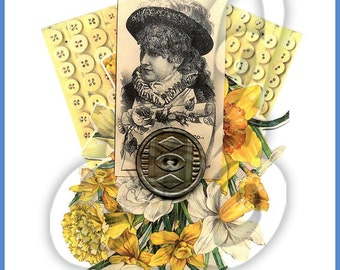 Daffodils Button Collage INSTANT DOWNLOAD
