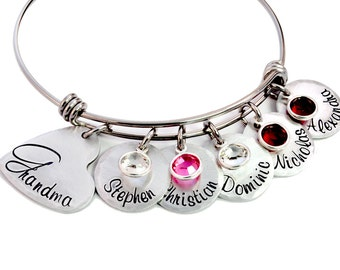 Personalized Grandma Expandable Bangle - Grandmother's Bracelet - Mommy Jewelry - Adjustable Bangle - Expandable Bracelet