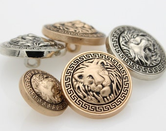 5 pieces 15-20mm Metal Lion Buttons, Sliver and gold buttons, Round Shirt Buttons, Buttons for child (202-40)