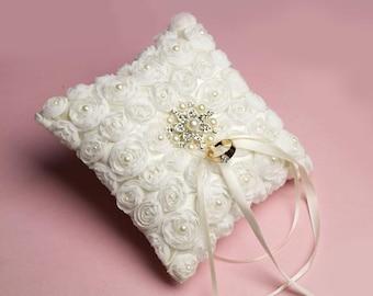 Ivory Wedding Ring Pillow, Bearer Ring Pillow, Flower Wedding Ring Pillow, Pearl & Rhinestone Wedding Ring Pillow,Ivory Wedding Pillow-pw001