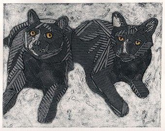 Two Black Cats, Original Collograph, Cat Art, Cat Print - Macy and Taz 2
