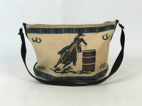 90's Southwestern Canvas Shoulder Bag Large Purse Tote - Oversize Carryall Vintage Bag - Cowboy Rodeo Western Print Computer Carry On Bag