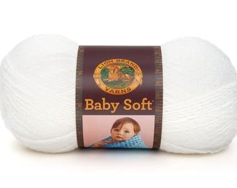 White Baby Soft Lion Brand Yarn One Skein 5 oz