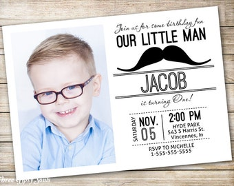 Mustache invitation Etsy