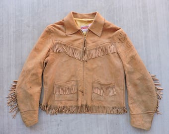 BEAT To HELL Rare Vintage 50s Suede Leather Fringer Western Jacket XS/S