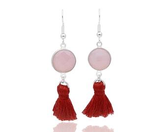 Tassel earrings, sterling silver earrings, rose quartz earrings, gemstone earrings, tassel jewelry, rose quartz jewelry, trendy earrings